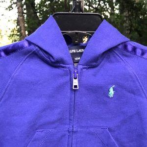 Ralph Lauren Purple Zip Up Hoodie Sweat Shirt 18M